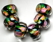 encased beads handmade lampwork glass bead set of 6 island colors tropical style glass beads parrot island by paulbead