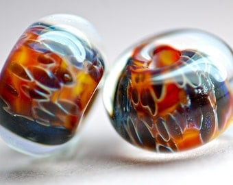 Paulbead boro lampwork glass bead pair for earrings earth reds