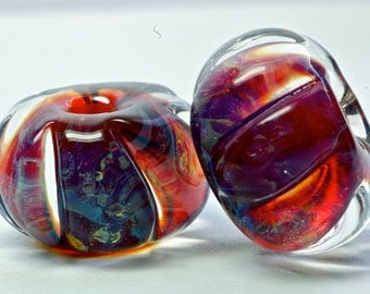 Sale handmade lampwork glass bead pair in boro faceted beads for earrings blue violet chalcedony