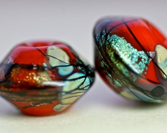 Sale handmade lampwork glass bead pairs for earrings dichroic sparkle bicone beads zen red by paulbead