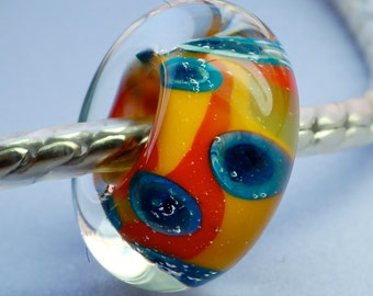 Colorful euro style large hole lampwork glass bead charm euo fit  bracelets paulbead silver core beads fits most euro style charm bracelets