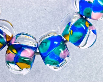 handmade lampwork glass bead set bright tropical sea glass colors beach beads in island orchid set of six