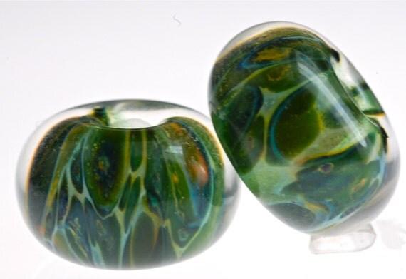 Paulbead boro lampwork glass bead pair for earrings green niagara