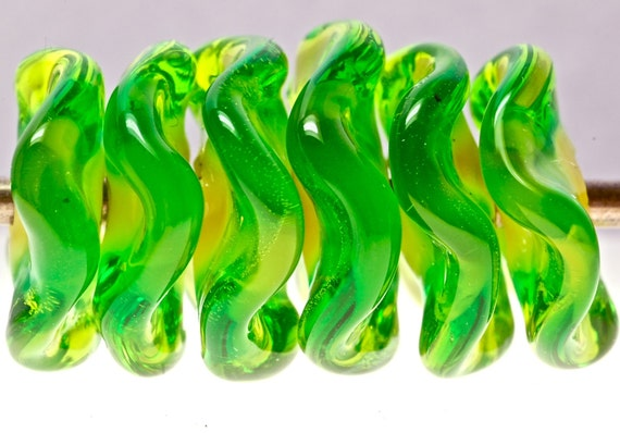 disk beads in bright green glass beads by paulbead set of 6
