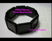 1pc   20MM BLACK Square Photo Blank Frame Charm Settings Bracelet with Matching 20mm Epoxy Sticker Seals KIT
