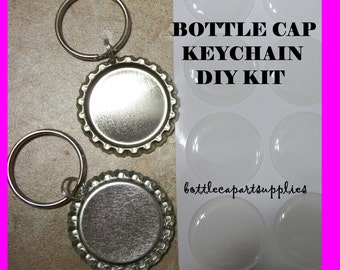 "25 FLAT Silver Linerless Bottle Cap KEY CHAINS Charms Epoxy Sticker Kit.   Complete with 25  1"" Resin Dome Epoxy Stickers"