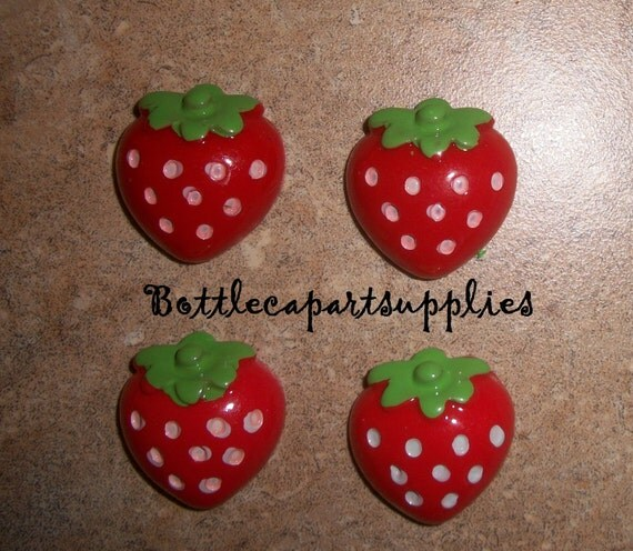 4pcs Red Strawberry RESIN Flatback Cabs for Hairbows and Crafts