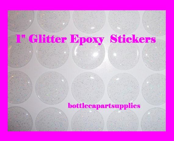 "100 pcs  1"" Clear Epoxy Sparkle Glitter Adhesive Circles Bottle Cap Seal Stickers Dots"
