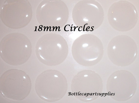 12pc 18mm Clear Epoxy Resin Adhesive Round Circle Sticker Seals