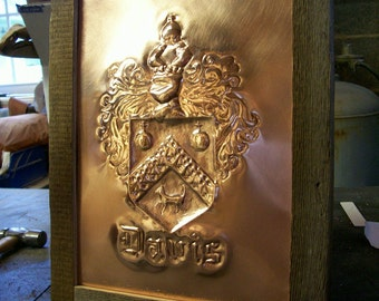 Hammered Copper Family Crest Coat of Arms and family Heraldry