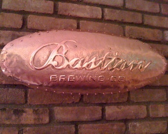 Custom Hand Hammered Copper Sign Brew Pub Sign