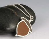Acorn Necklace- Brown Resins and Sterling Silver