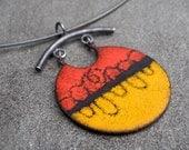 Enamel Necklace - Enamel Silver Pendant - Orange, Red, Black Enamel Necklace - Sgraffito Enamel - Enamel Jewelry - Enamel Silver Necklace