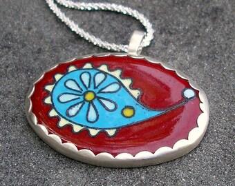 Paisley Necklace - Cloisonne Enamel Necklace - Enamel Cloisonne Paisley Pendant - Red Blue Yellow Paisley Enamel Necklace - Enamel Jewelry