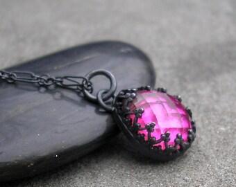Pink Topaz Necklace - Topaz Necklace - Teardrop Pink Topaz - Rose Cut Topaz Pendant - Sterling Silver Topaz Necklace - Fancy Bezel Gem