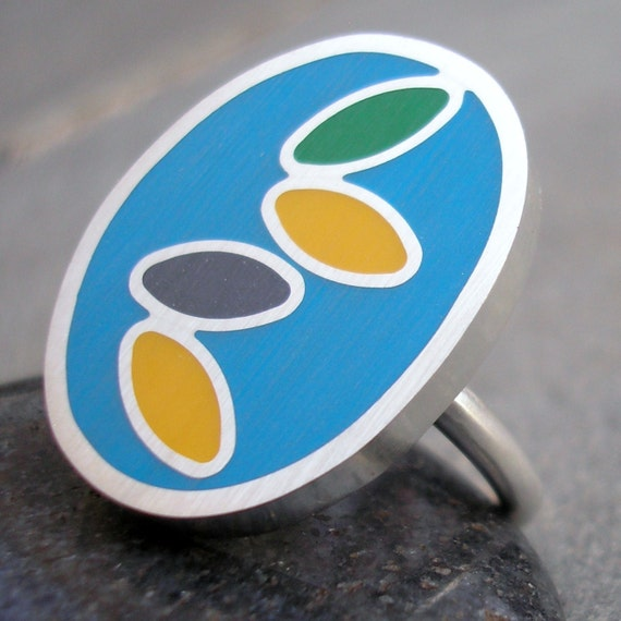 Resin Ring - Blue Resin Ring - Turquoise Blue Resin Ring - Resin Silver Ring - Resin Sterling Silver Ring - Blue Resin Tumbling Seeds Ring