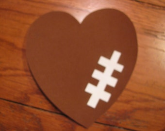 Football Heart Iron On Applique, You Choose Fabric