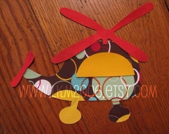 Helicopter Iron On Applique, You Choose Fabric