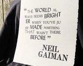Original Letterpressed Neil Gaiman Print