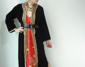 Vintage 70's Black Velvet Moroccan Gold Metallic embroidered Caftan Jacket Dashiki Dress Coat