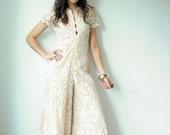 Vintage 70's Nude Cream Crochet Lace LILLI DIAMOND Illusion Scallop Deep V Wide Leg Palazzo Jumpsuit Wedding Dress