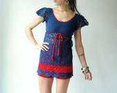 70's Vintage Navy Blue and Red CROCHET Scallop Mini Dress Tunic