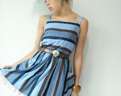 70's Vintage Blue and Brown Striped Chambray Tank Sun Dress Big Pockets