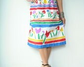 80's Vintage Floral Stripe Fingerpainted TULIP Print Skirt with Pockets