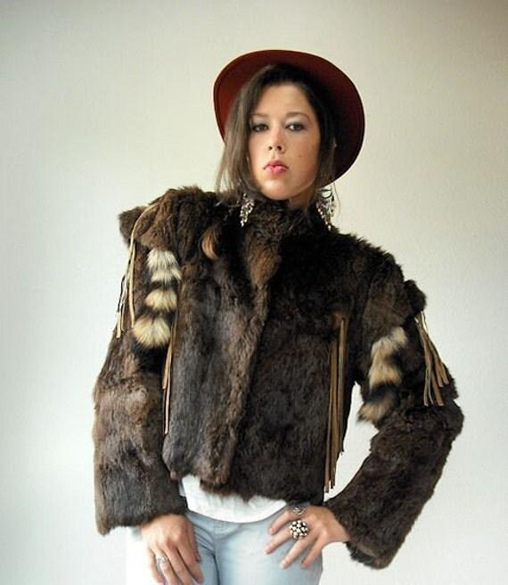 Vintage Rabbit Fur TAILS Leather FRINGE Ethnic Native Jacket Coat