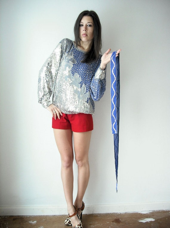 Vintage 80's Cobalt Blue and Silver Draped Slouchy Sequin Beaded Abstract Blouse
