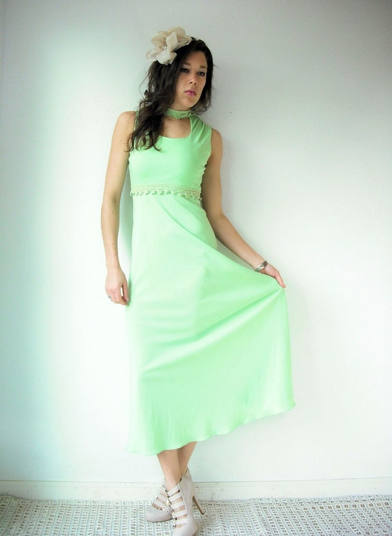 Vintage 60's MINT JULEP Crochet Lace Cut Out Full Skirt Sleeveless Party Dress