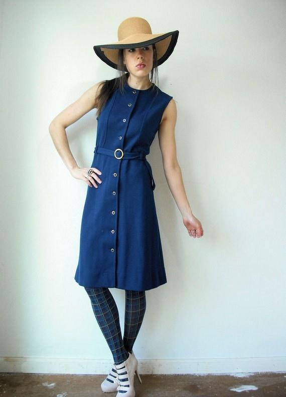 Vintage 60's Navy Blue JANTZEN Sleeveless MOD Button Up Belted Knit Jumper Dress