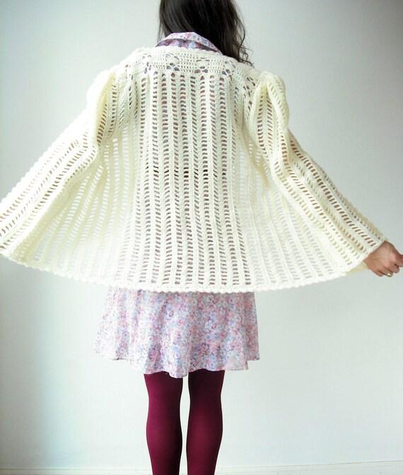 SALE....Vintage 70's Cream CROCHET Puff Bell Sleeve Cardigan Scallop Sweater Jacket-Xlarge