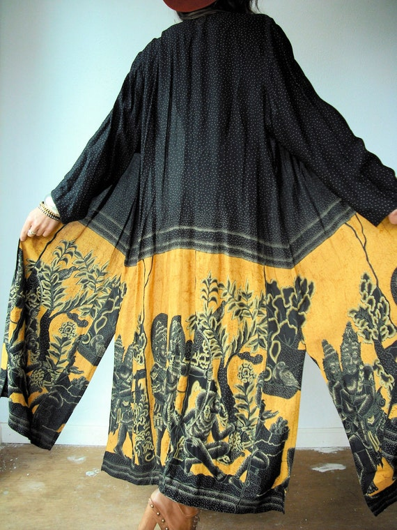 Vintage 80's African TRIBAL GYPSY Draped Kimono Jacket Black and Golden Yellow Ethnic Maxi Duster