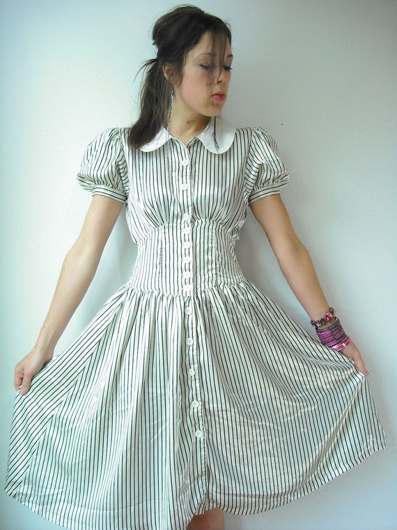 Vintage 80's Black and white Stripe Satin PETER PAN Collar Puff Sleeve Midi Dress