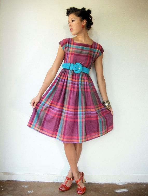50's Vintage Autumn Plum, Pumpkin and Turquoise Plaid Empire Waist Full Skirt Day Dress
