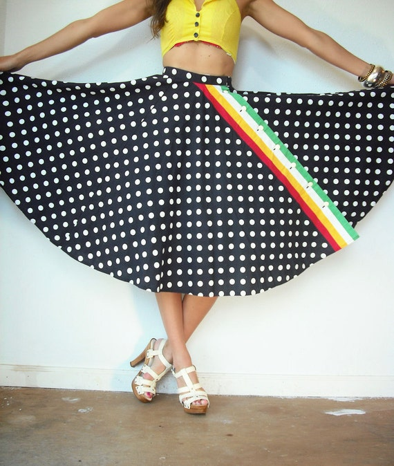 1950's 50's Vintage Navy and White Polka Dot RAINBOW Stripe High Waist Full Circle Skirt