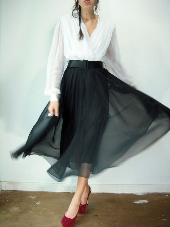 Deadstock Black and White Chiffon TUXEDO 80's Vintage Holiday Party Dress
