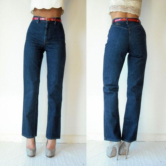 Dark Wash Vintage High Waist Denim Blue Jeans Hip Hugger Straight Leg 2/small