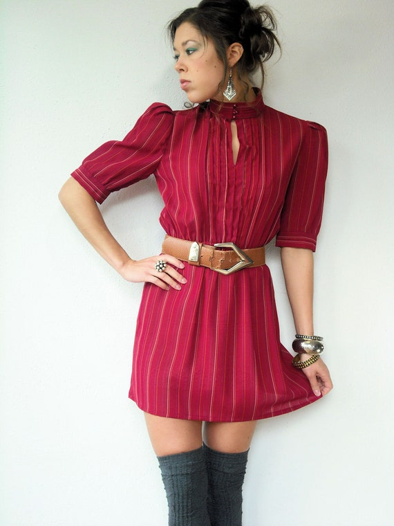 Vintage 80's Semi Sheer Cranberry Pinstripe Mini Dress Pintucked Bodice Button Collar