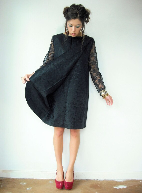 60's Black Brocade Sheer Lace Sleeve MOD Shift Dress with Front Panel and Pleated Shoulder