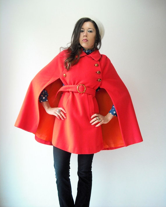 60's Vintage Wool Bright Orange Red Military Poncho Cape Coat with Waist Belt and Pockets