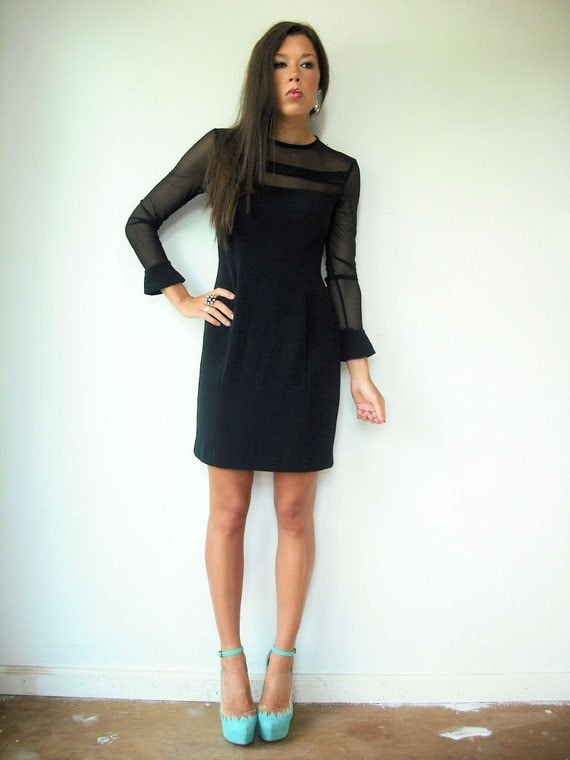 r e s e r v e d....80's Vintage Black LBD Bandage Sheer Mesh Cut Out Dress with Open Back