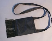 Black Silk Shantung Cross Over Bag \/6 inches by 6 inches lightly padded\/ Gadget Cozy\/ Free Shipping