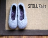 Wool Felted Stull slippers ... Silver Grey ... light ... Made to order