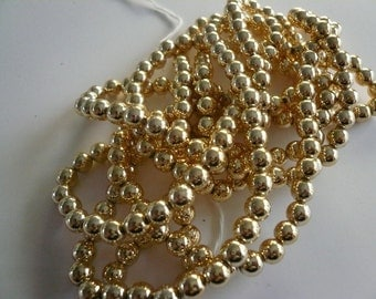 Vintage 6mm Gold Plated Beads NOS