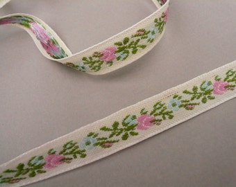 Ecru Embroidered Ribbon with Pink and Blue Flowers  2 Yards