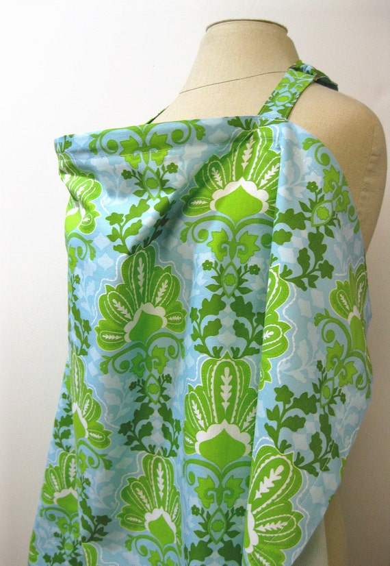 Nursing Apron Cover for Breastfeeding Lime and Blue Leafy Floral Print