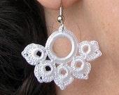 Romantic Hand Crocheted Lace Flower Earrings in White
