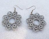 Romantic Hand Crocheted Lace Flower Earrings in Silver Gray